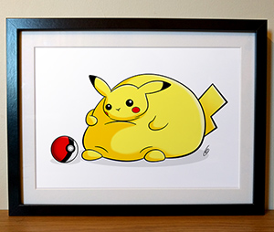 Fat Pikachu Illustration Print