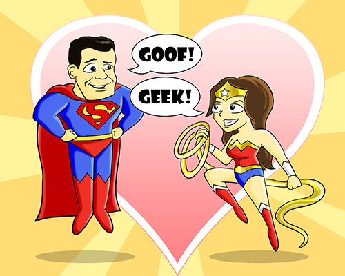 Cartoon Superhero Geek Portrait