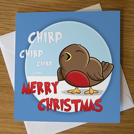 Cartoon Robin Christmas Card