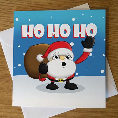 Cute Cartoon Santa Christmas Card