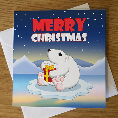 Cartoon Polar Bear Christmas Card