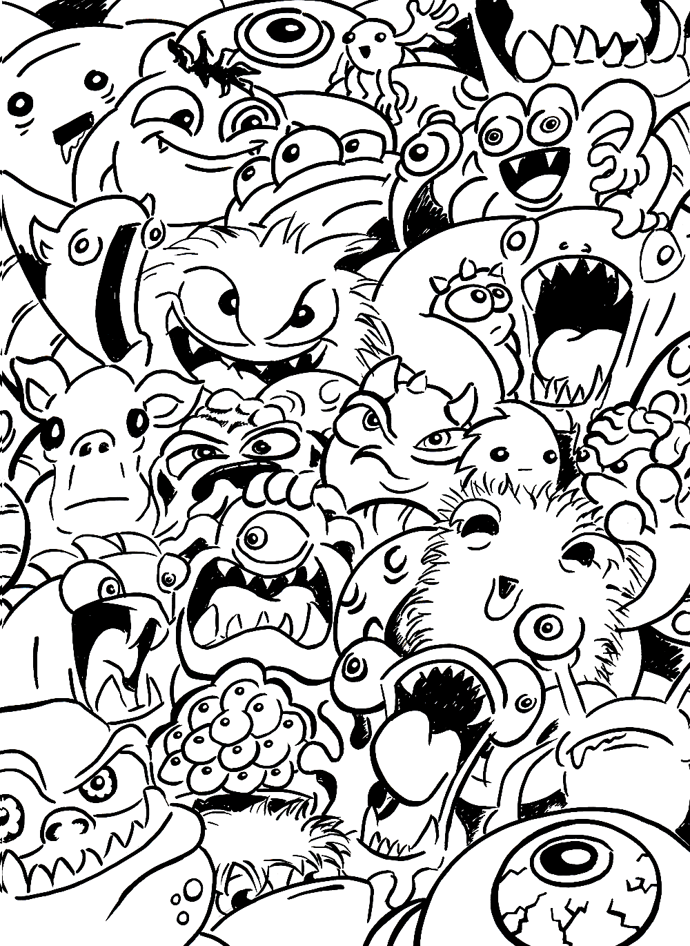 Monsters drawing sketch illustration