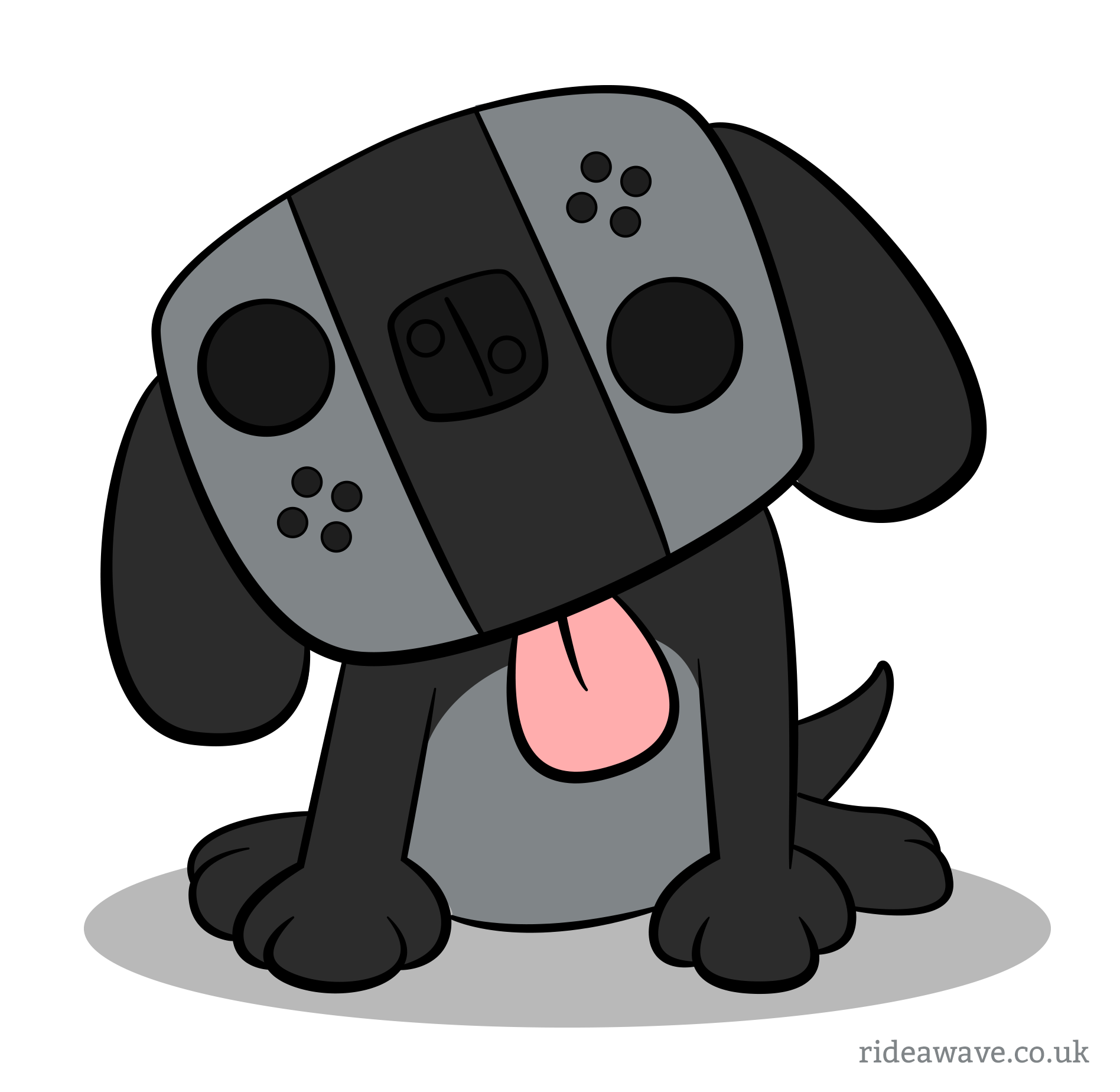 nintendo switch dog cartoon ride a wave design. Black Bedroom Furniture Sets. Home Design Ideas