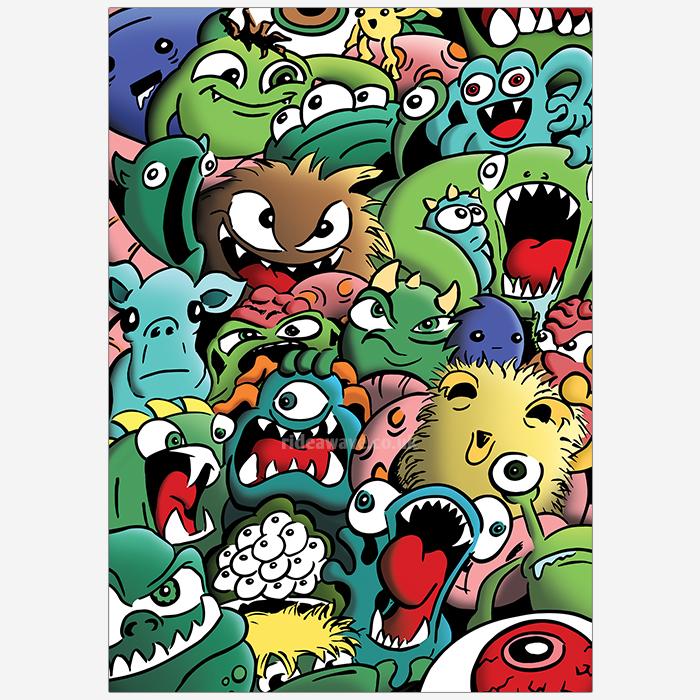 Cartoon Monsters Illustration Print