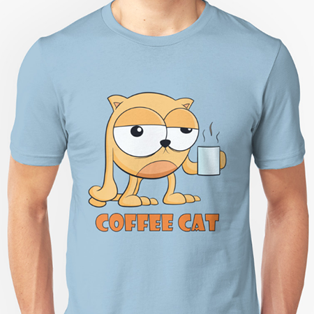 Coffee Cat Cartoon T-Shirt