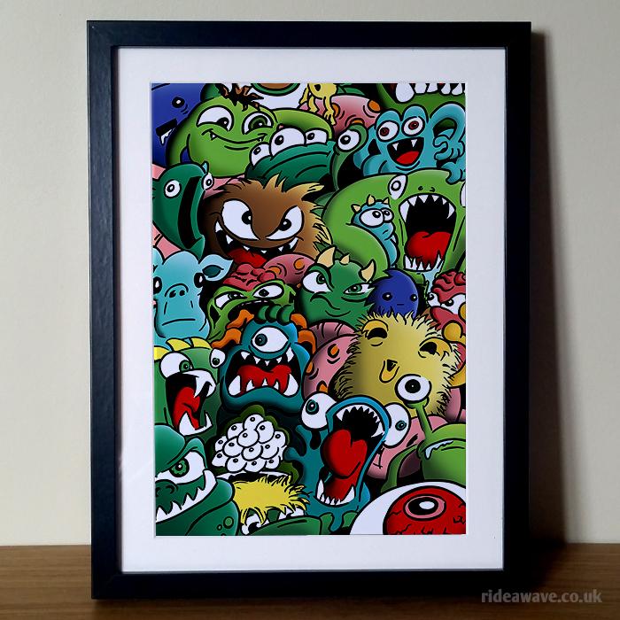 Monsters Illustration Framed Print