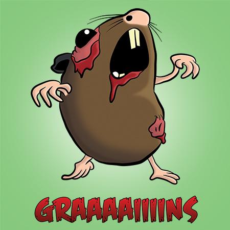 Zombie Hamster Cartoon Illustration Print