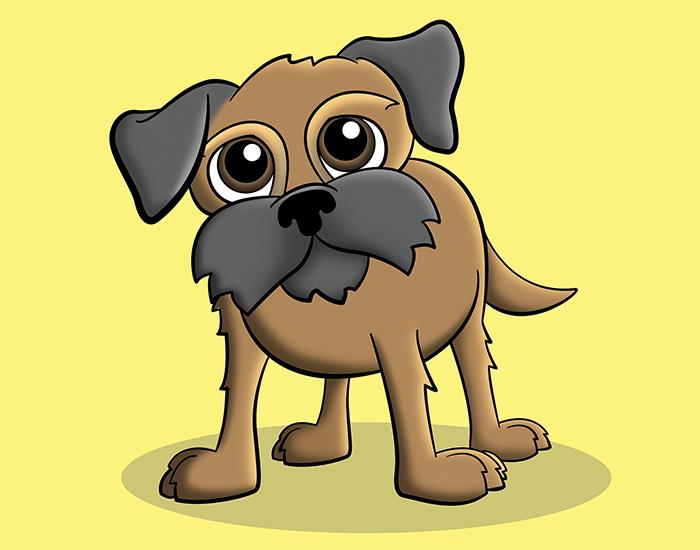 Cartoon Border Terrier Pet Portrait