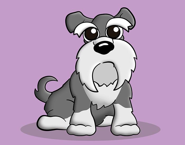 Cartoon schnauzer pet portrait