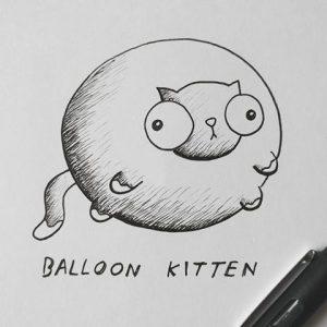 balloon kitten illustration