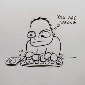 internet trolls arguing illustration