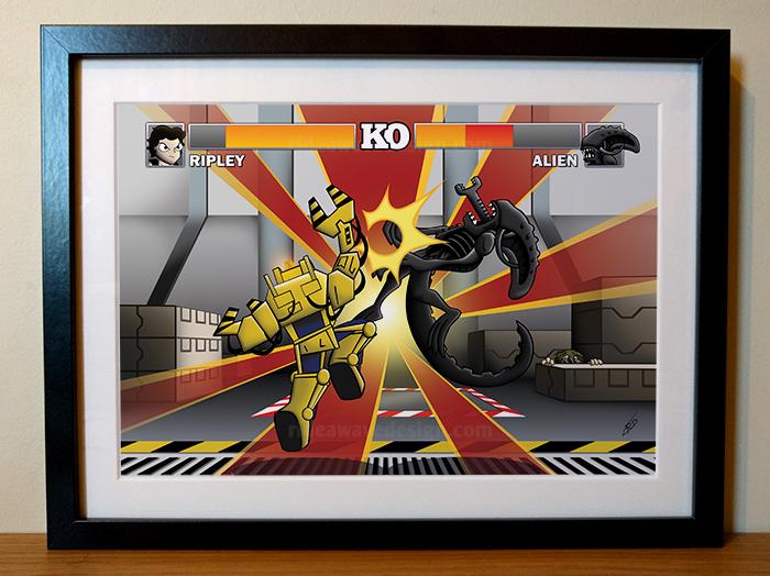 alien vs ripley street fighter illustration print