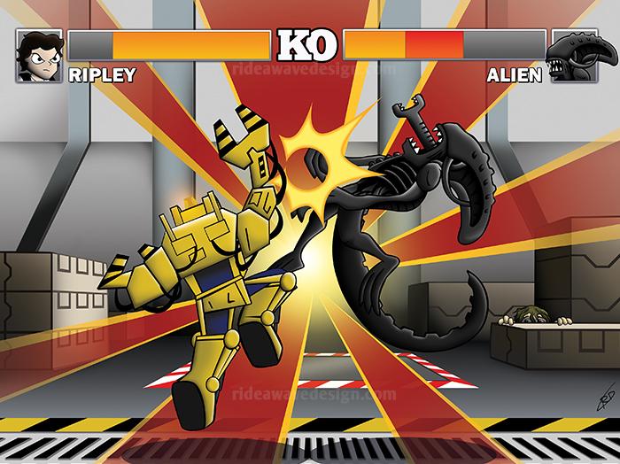 alien vs ripley street fighter illustration