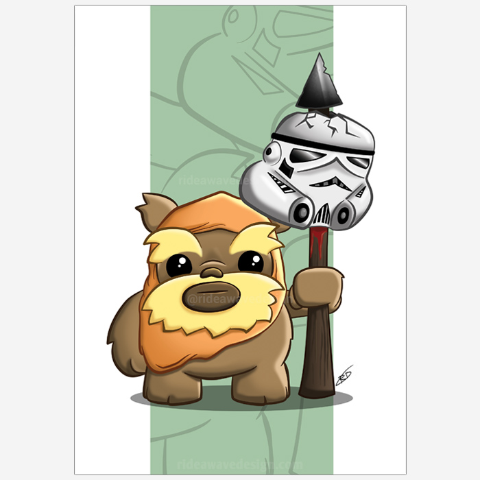 cute ewok star wars illustration print