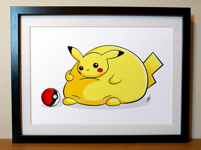 fat pikachu pokemon illustration print