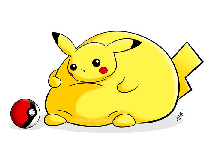 fat pikachu pokemon illustration