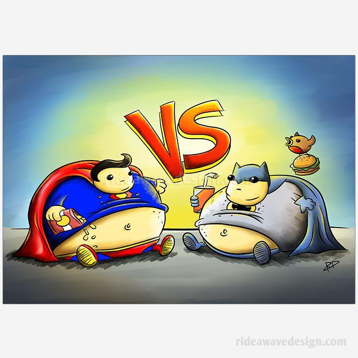 Batman vs Superman funny illustration print