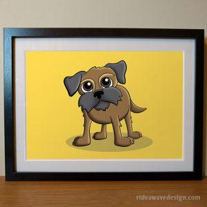 Border terrier cartoon pet portrait