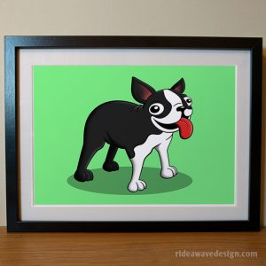 Boston terrier cartoon pet portrait