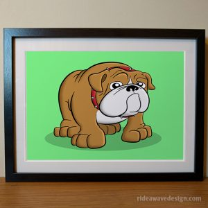 Bulldog cartoon pet portrait