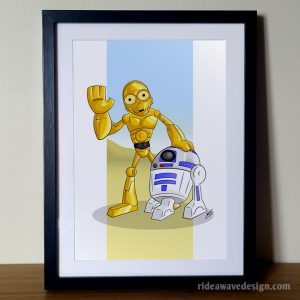 C3PO R2D2 Star Wars art print