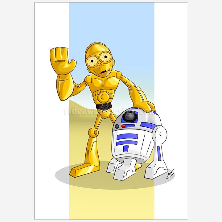C3PO R2D2 Star Wars illustration print