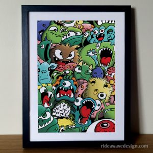 Cartoon monsters art print