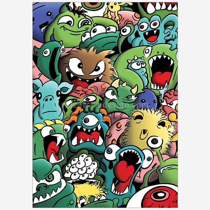 Cartoon monsters illustration print
