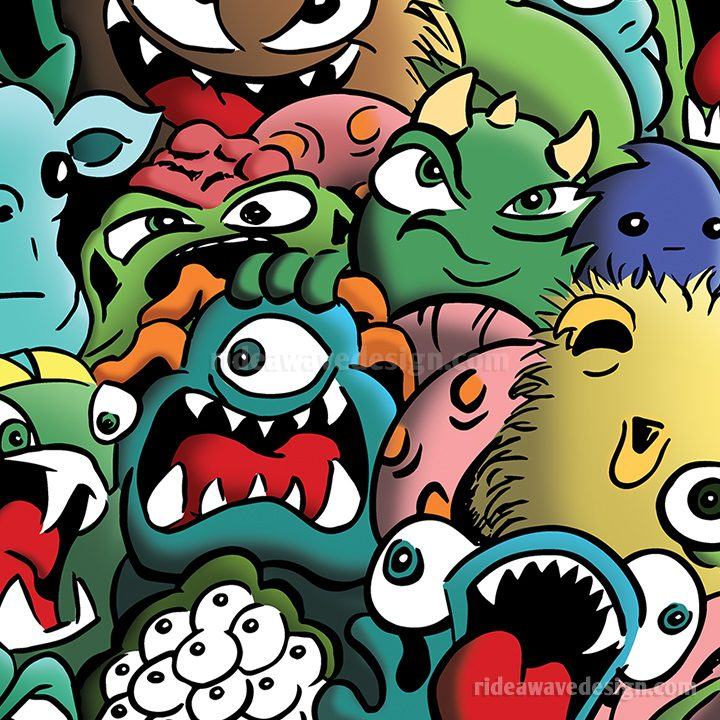 Cartoon monsters poster
