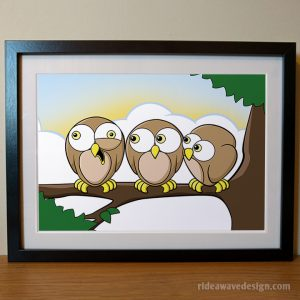 Cartoon owls art print
