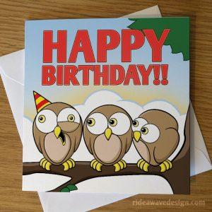 Cartoon Owls Birthday Card