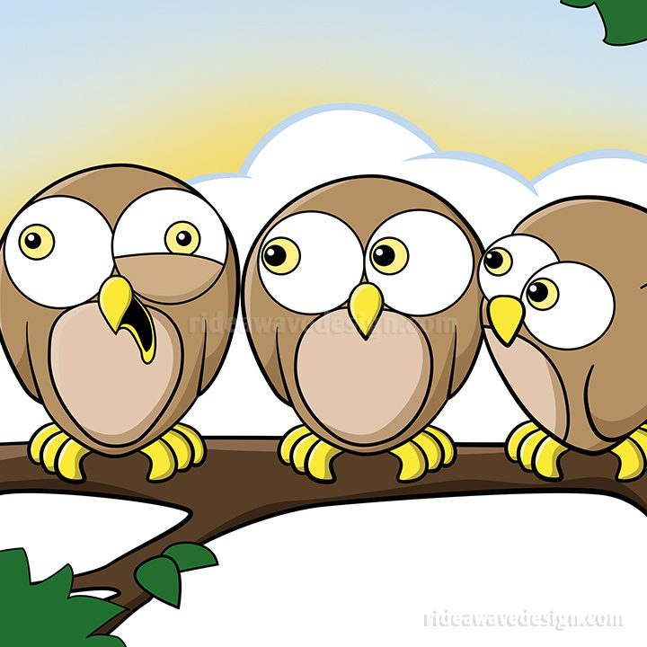 Cartoon owls illustration
