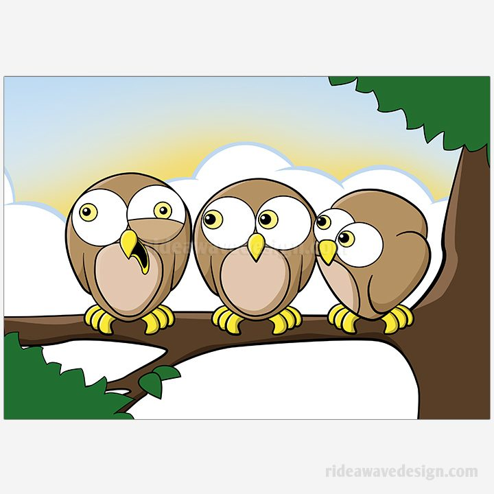 Cartoon owls illustration print