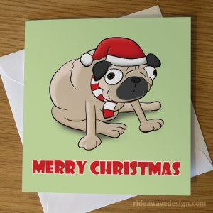 Cartoon Pug Christmas Card