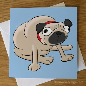 Cartoon Pug Greeting Card