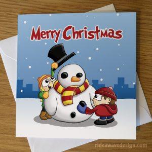 Cartoon Snowman Christmas Card