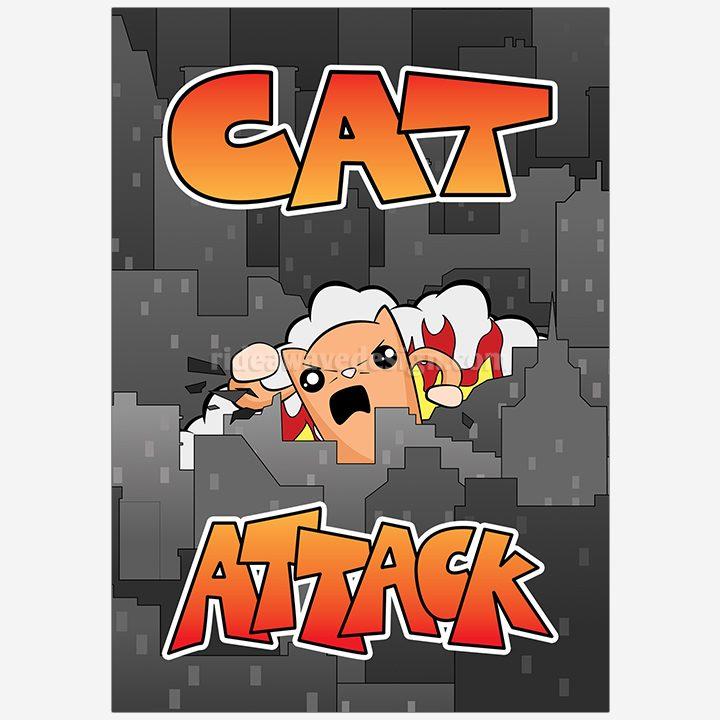 Cat Attack illustration print