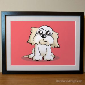 Cavachon cartoon pet portrait