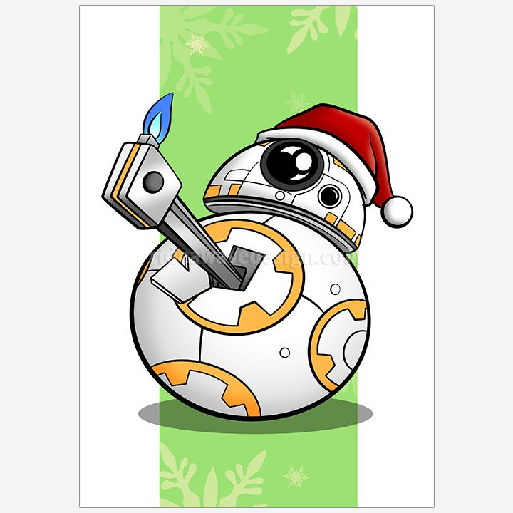 Christmas BB8 Star Wars illustration print