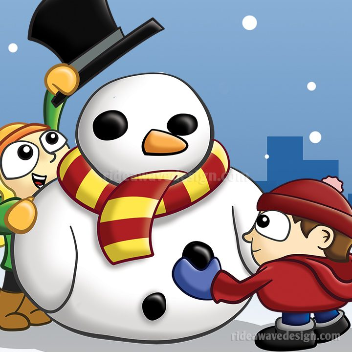 Christmas snowman cartoon poster