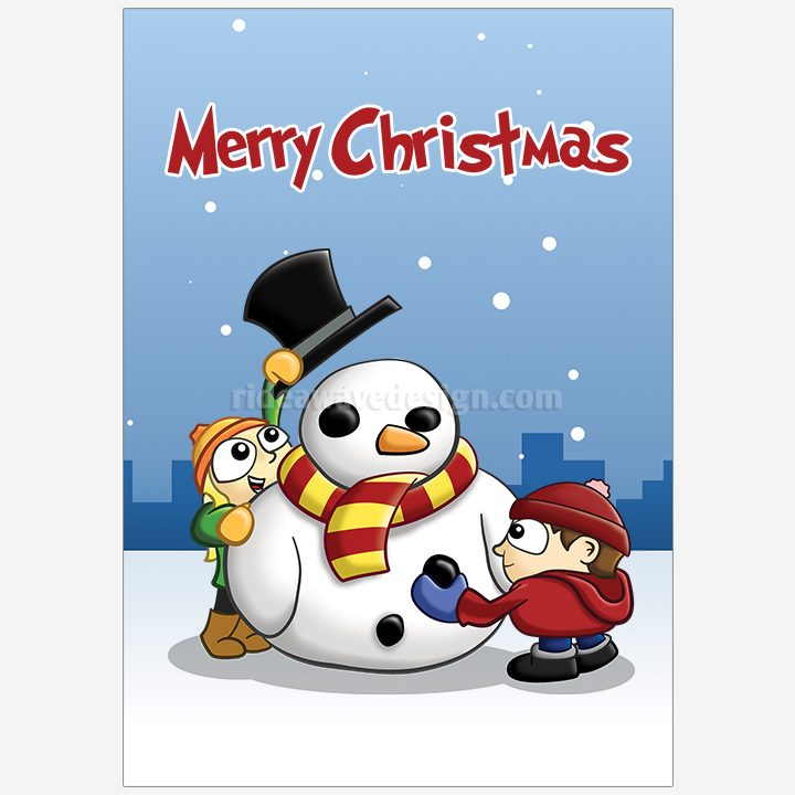 Christmas snowman illustration print