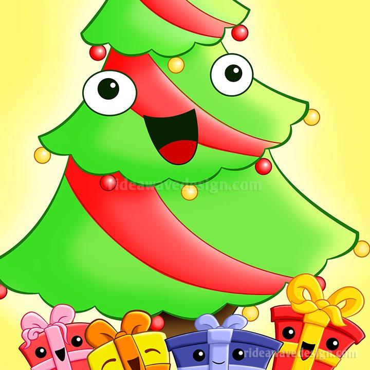 Christmas tree cartoon poster