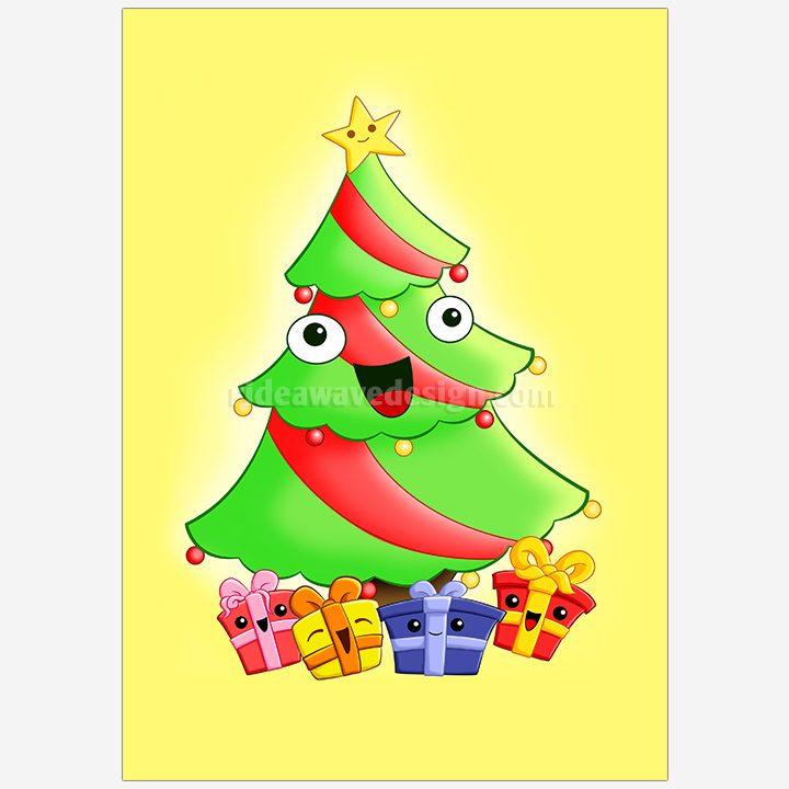 Christmas tree illustration print