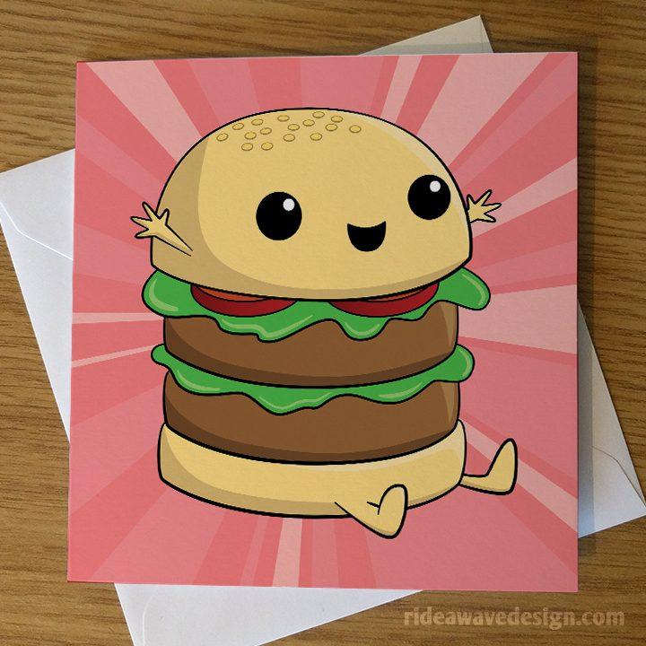Cute Burger Greeting Card