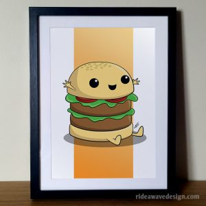 Cute cartoon burger art print
