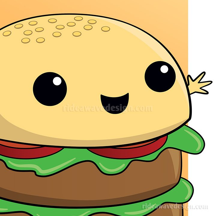 Cute cartoon burger illustration