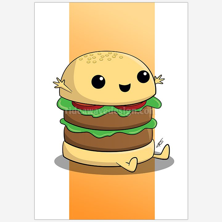 Cute cartoon burger illustration print