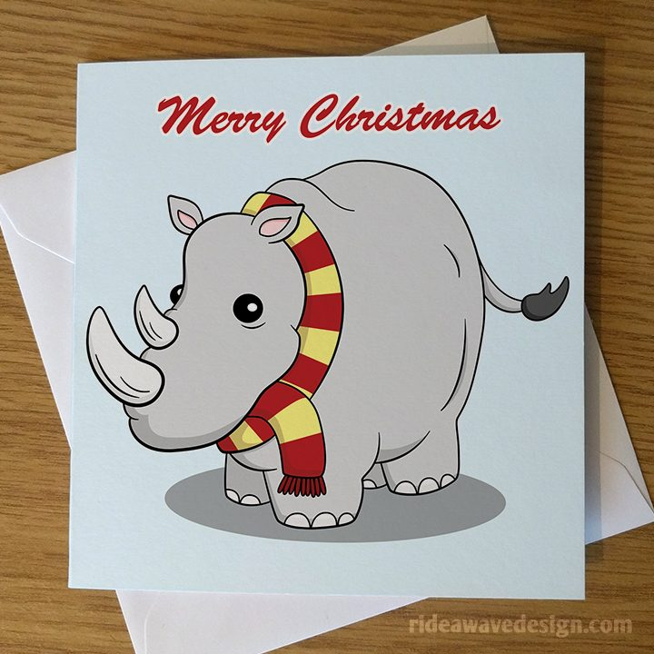 Cute Rhino Christmas Card