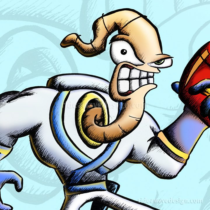 Earthworm Jim cartoon poster