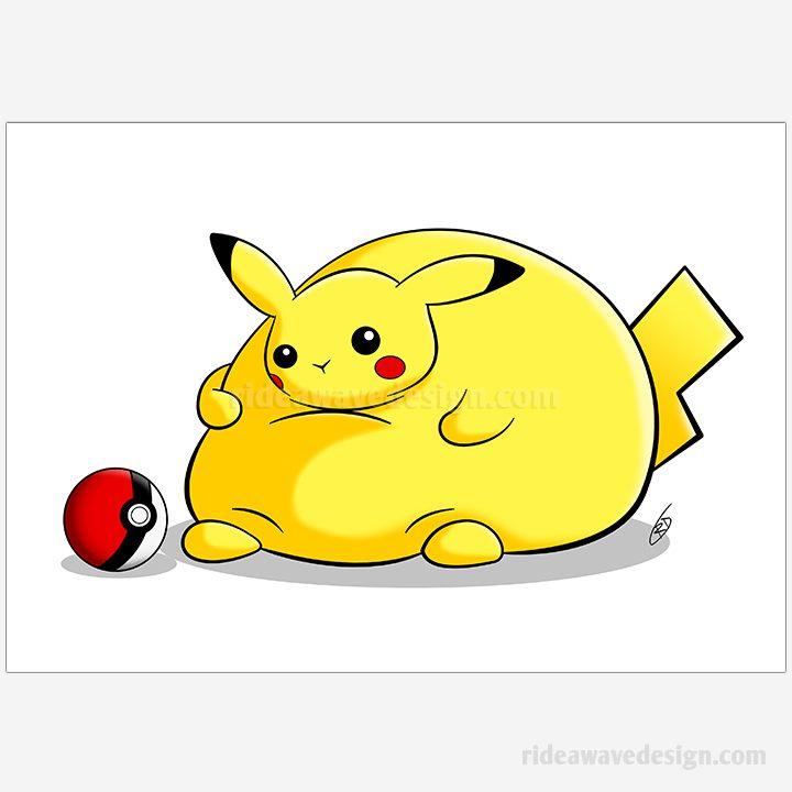Fat Pikachu illustration print